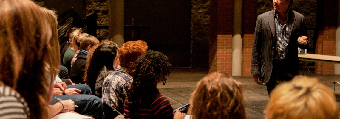 Kevin McCollum talks to CCM musical theatre students at a master class.