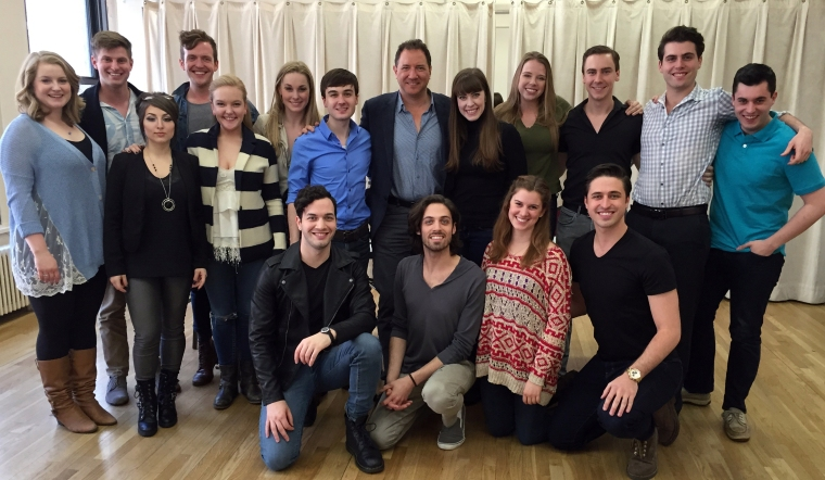 Kevin McCollum (center) with CCM Musical Theatre's Class of 2015 after his seminar at Pearl Studios in New York.