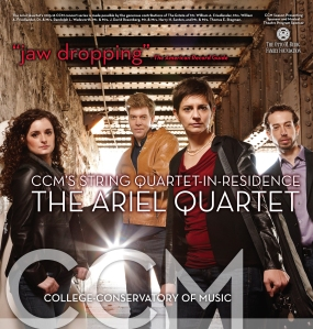 A poster for the Ariel Quartet's 2015-16 concert series at CCM.