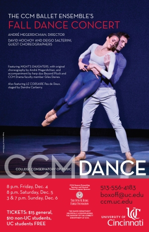 CCM's Fall 2015 Dance Concert. Photo by Will Brenner. Poster design by Mikki Graff.