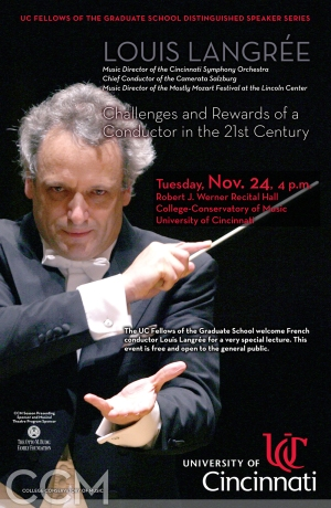 Poster for Louis Langree's Nov. 2015 lecture at CCM.