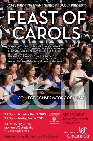 CCM's 2015 Feast of Carols concert poster.