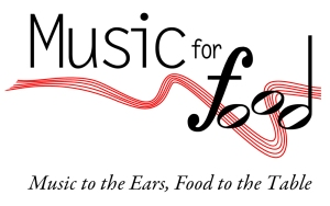 "Logo for ""Music for Food"" initiative."