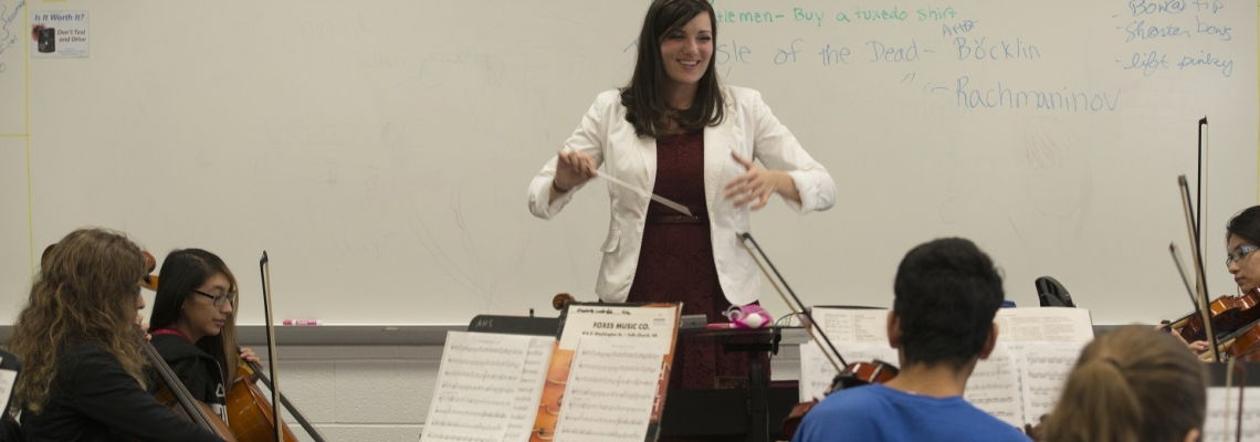 Angela Ammerman was named Virginia Orchestra Director of the Year for her work as an enthusiastic, engaging music teacher at Annandale High School. (Marvin Joseph/The Washington Post)