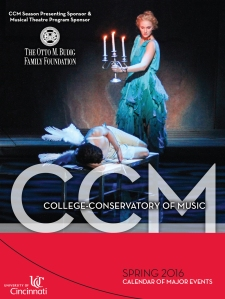 The cover to CCM's Spring 2016 Calendar of Events.