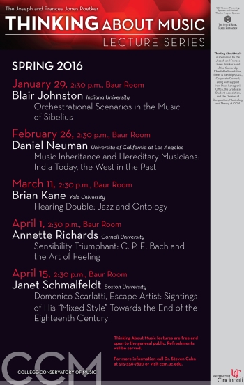 CCM's Spring 2016 'Thinking About Music' Schedule.