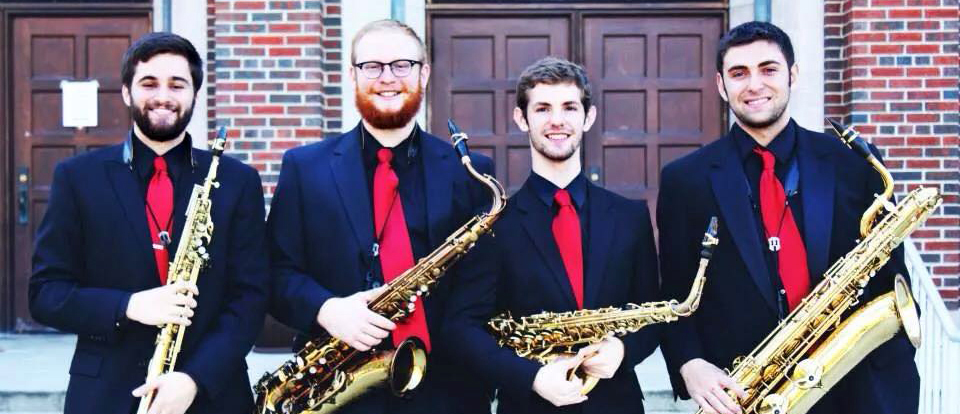 The Torrential Saxophone Quartet, comprised of CCM students Mark Harrison, Samuel Lana, Caleb Burkhardt and Kyle Kidwell.
