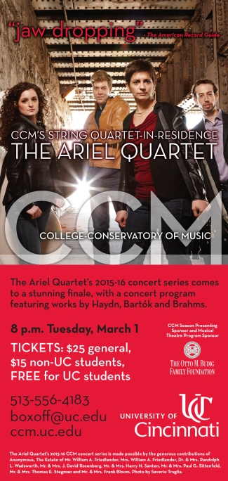 Flyer for the Ariel Quartet's concert on March 1, 2016.