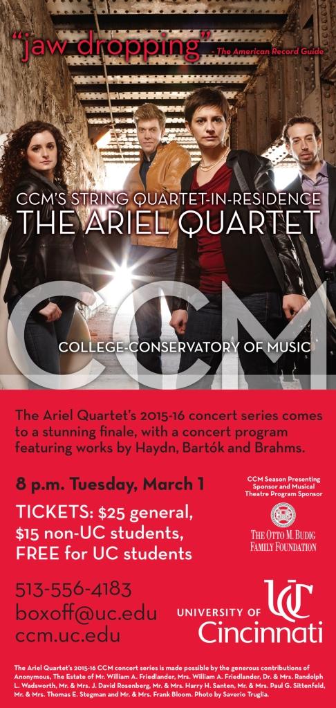 Flyer for the Ariel Quartet's concert on March 1, 2016.