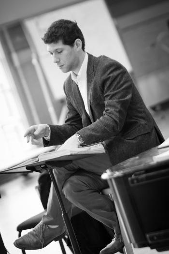 Student conductor Avishai Shalom. Photography by Adam Zeek.