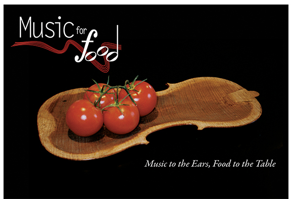 The logo for the Music for Food initiative.