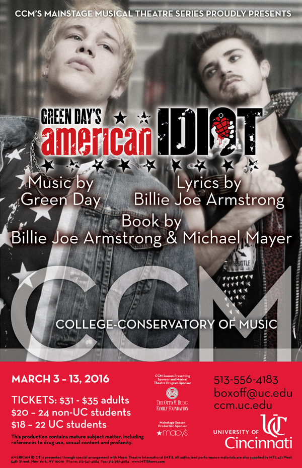 CCM's Mainstage Series production of Green Day's 'American Idiot' plays March 3 - 13, 2016.