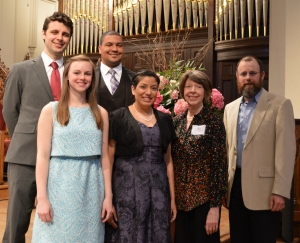 Singers Zackery Morris, Emily Yocum Black, Julius Cruse Miller III, Rebecca Castillo with vocal competition sponsor Audrey Rooney and Kentucky Bach Choir Artistic Director Marlon Hurst.