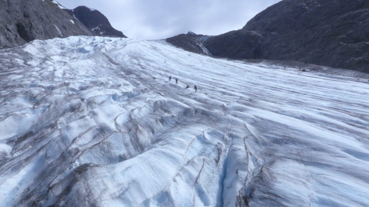 Racers from the Expedition Alaska Adventure Race trek up a glacier in the Kenai Peninsula. Photo provided by the UC Production Master Class.