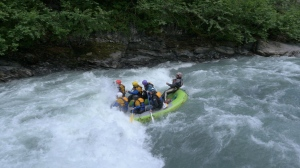 The UC Production Master Class crew gets wet while whitewater rafting during the Expedition Alaska Adventure Race. Photo provided by the UC Production Master Class.