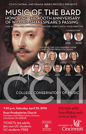 Flyer for CCM's 'Music of the Bard IV' concert.