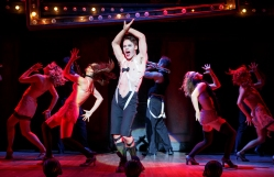Randy Harrison as the Emcee and the 2016 National Touring cast of Randy Harrison as the Emcee and the 2016 National Touring cast of Roundabout Theatre Company's CABARET. Photo by Joan Marcus.
