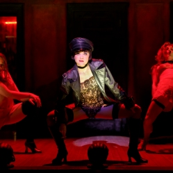 Sarah Bishop as Helga, Andrea Goss as Sally Bowles and Alison Ewing as Fritzie in the 2016 National Tour of Roundabout Theatre Company's CABARET. Photo by Joan Marcus.