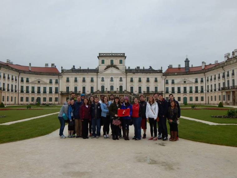 Students in front of Esterhazy Palace in Austria, home one of Haydn's most important patrons.