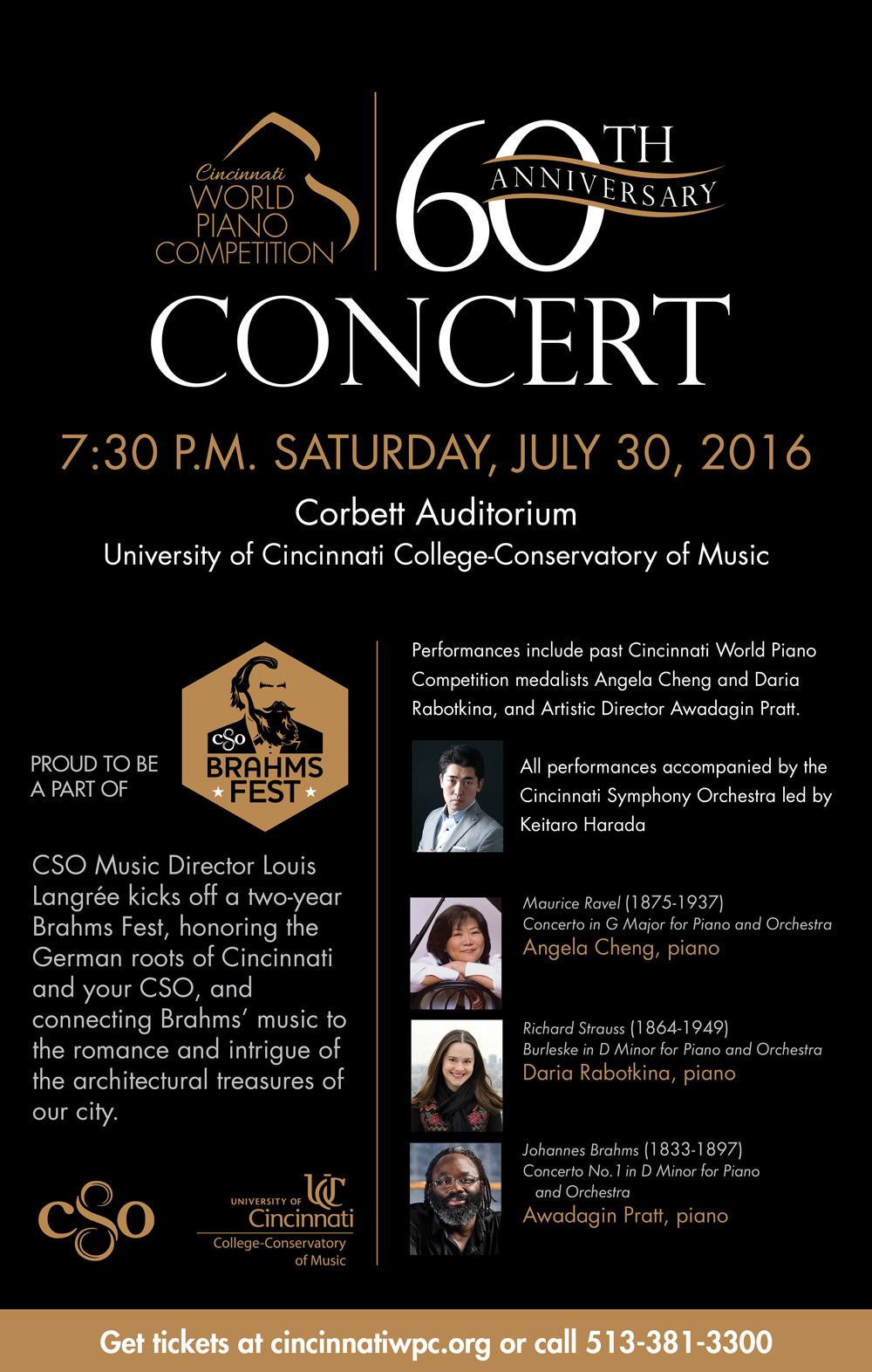A poster for the 60th Anniversary Concert of the Cincinnati World Piano Competition.