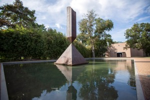 The Broken Obelisk outside of the Rothko Chapel.