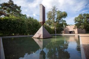 The Broken Obelisk outside of the Rothko Chapel.