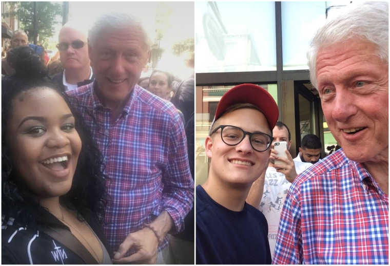 CCM Acting students Paige Lindsay Jordan and Matt Fox with former president Bill Clinton.