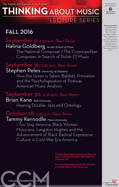 CCM's Fall 2016 Thinking About Music Lecture Series schedule.