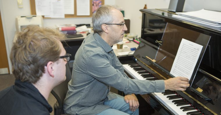 CCM Professor Michael Fiday teaching a composition student. Photo by Andrew Higley.