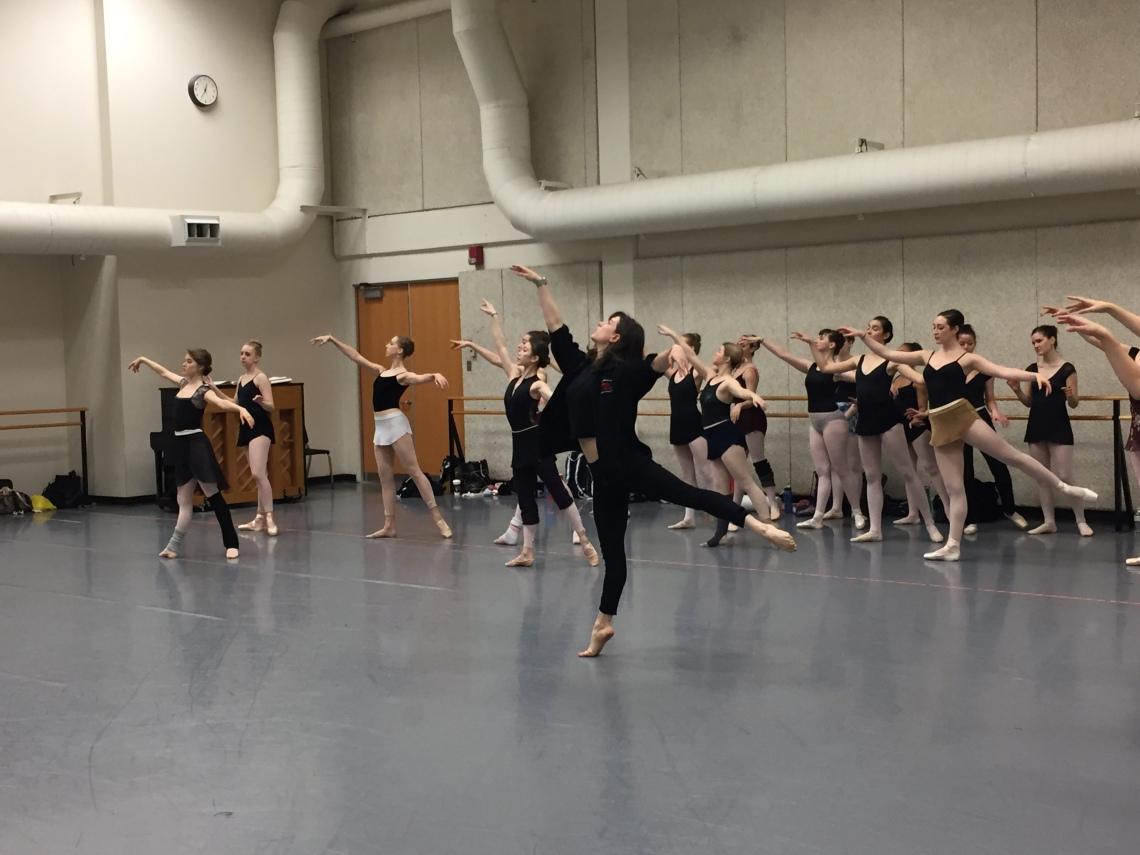 Alum Julie Eicher teaches a masterclass for dance students at CCM.