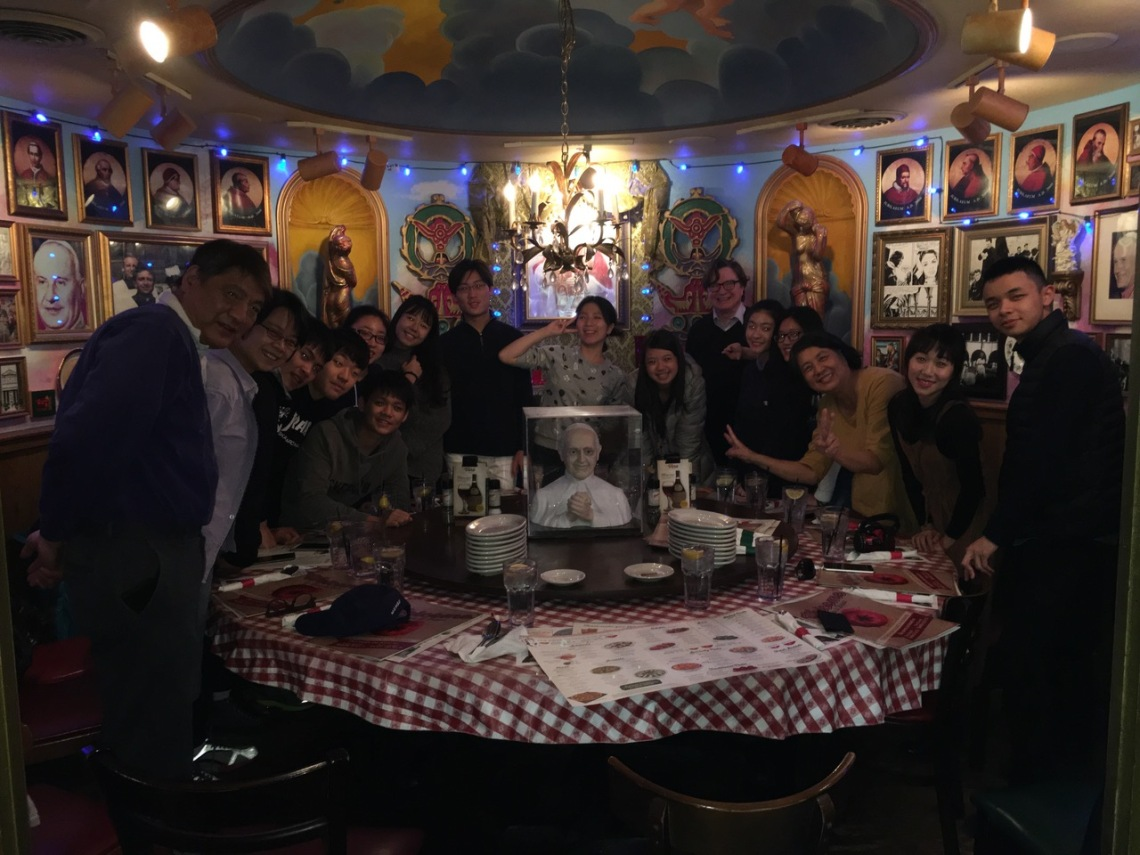 TNNUA students and CCM Prep Assistant Dean John Martin at Cincinnati's Buca di Beppo restaurant.