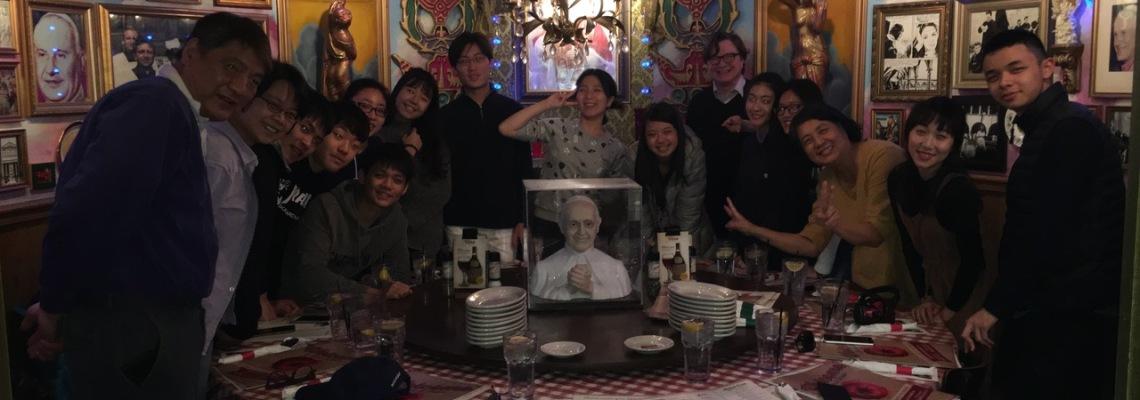 TNNUA students and CCM Prep Assistant Dean John Martin at Cincinnati's Buca di Beppo restaurant.