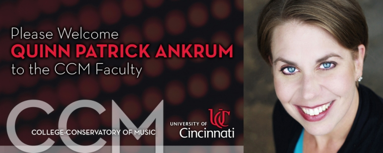 Mezzo-soprano Quinn Patrick Ankrum joins CCM as Assistant Professor of Voice in August of 2017.