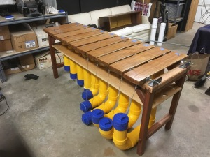 A bass marimba inspired by the marimbas commonly found in Zimbabwe. The instrument will soon be installed at Percussion Park. Photo provided by Ben Sloan.