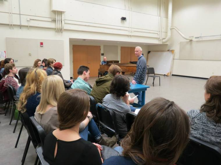 """Oberacker returned to CCM in 2015 to teach a """"Singing Actor"""" master class."""
