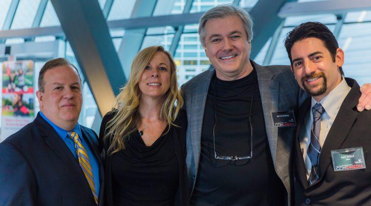 CCM staff member Dave Colussi with E-Media alumna Melissa Hopkins, professor Kevin Burke and alumnus Tavi Wolf.