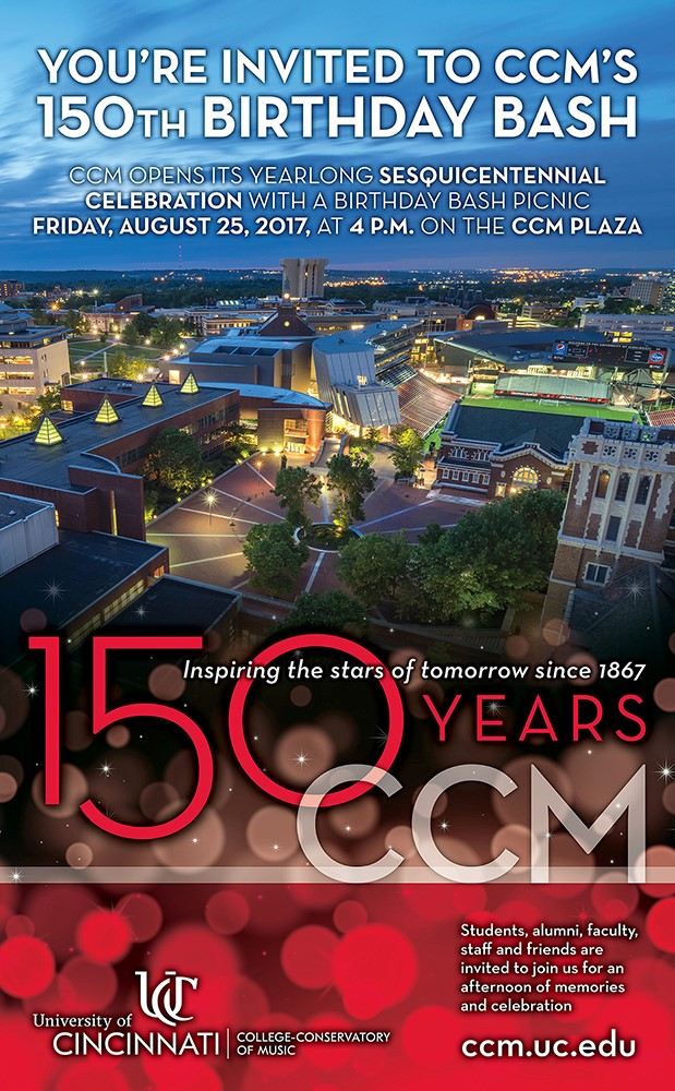 Join us for CCM's 150th Birthday Bash at 4 p.m. on Friday, August 25 on the CCM Plaza
