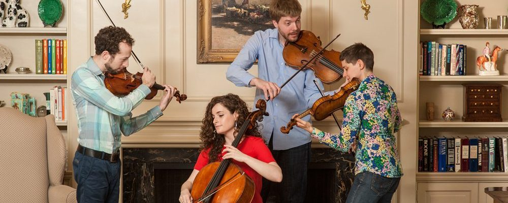 "Ariel Quartet members Gershon Gerchikov, Amit Even-Tov, Jan Grüning and Alexandra ""Sasha"" Kazovsky. Photography by Robert A. Flischel."