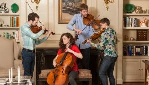 "Ariel Quartet members Gershon Gerchikov, Amit Even-Tov, Jan Grüning and Alexandra ""Sasha"" Kazovsky. Photography by Robert A. Flischel."