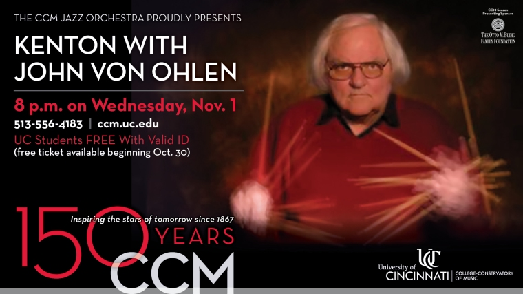 """The """"living guru of big band drumming"""" (Modern Drummer) joins the CCM Jazz Orchestra for a special concert featuring hits from the Stan Kenton Orchestra."""
