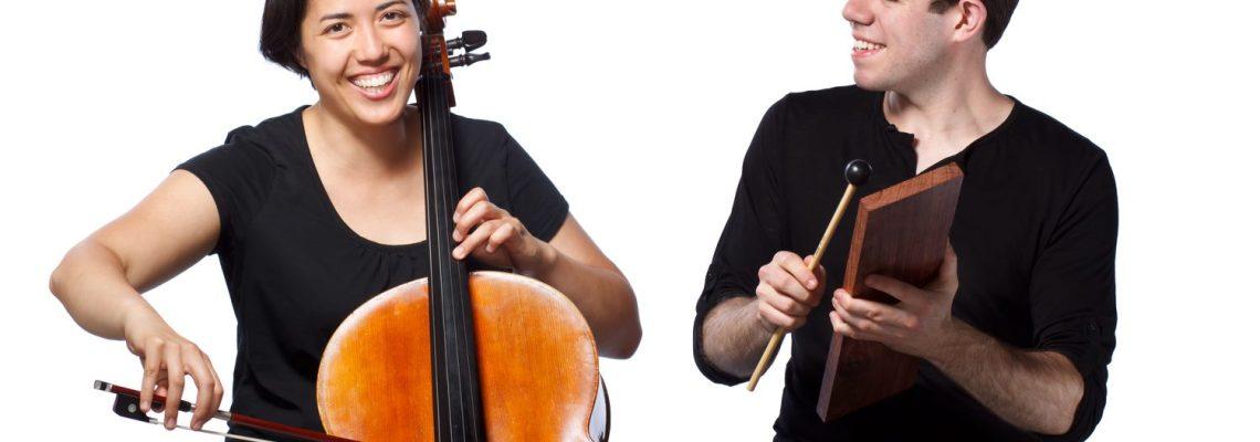 New Morse Code musicians Hannah Collins and Michael Compitello. Photo by Michiko Tierney.