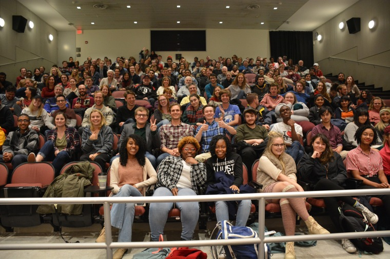 Audience members filled UC's MainStreet Cinema to watch original, student-created short films during CCM's 48-Hour Film Festival.