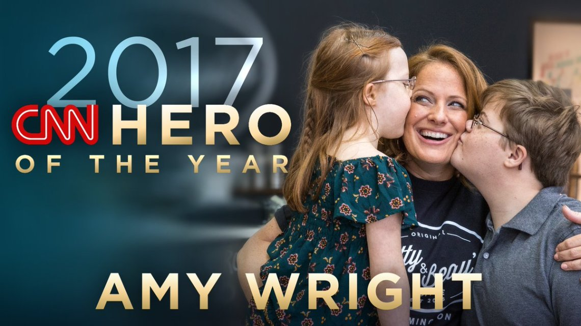 A graphic honoring CCM alumna Amy Wright as CNN's Hero of the Year for 2017.