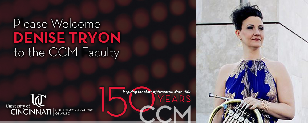 Graphic welcoming Denise Tryon to CCM's faculty.