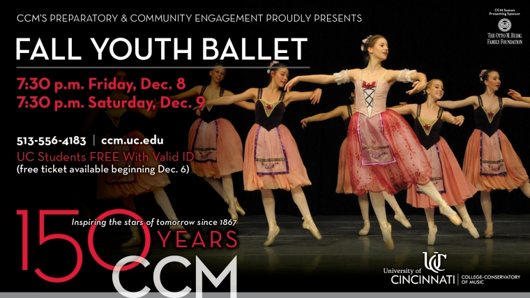 Featuring talented students from ages nine through adult, the CCM Youth Ballet Companies perform the annual Fall Youth Ballet Concert on Dec. 8-9, 2017.