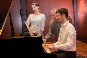 Collaborative piano and voice students rehearse with CCM Professor Kenneth Griffiths.