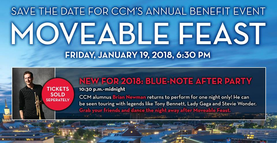A graphic promoting CCM's 2018 Movable Feast and Blue-Note After Party, featuring alumnus Brian Newman.