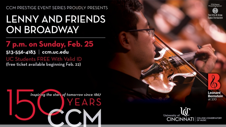 The CCM Philharmonia and Musical Theatre stars of tomorrow present Broadway hits from Leonard Bernstein, Frank Loesser and Jule Styne in concert on Sunday, Feb. 25.