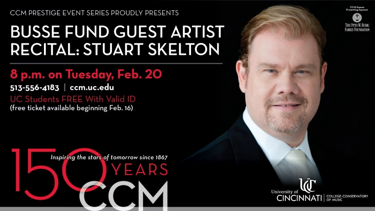 The world renowned operatic vocalist returns to his alma matter for CCM's Busse Fund Guest Artist Recital on Tuesday, Feb. 20.