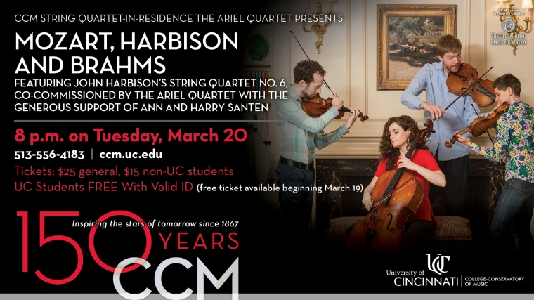 CCM's String Quartet-in-Residence will perform works by Mozart, Brahms and the regional premiere John Harbison's newly commissioned String Quartet No. 6.